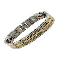 Wholesale Casual Stainless Steel Black Bracelet Bangle Magnetic Health Chain Men Charm Jewelry from china suppliers