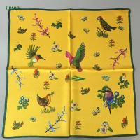 Buy cheap Printed Silk Scarf Chinese style yellow small square neck scarf with bird printing from wholesalers