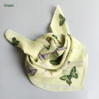 Buy cheap Printed Silk Scarf Cute square chiffon cdc scarf for little girls with butterfly printing from wholesalers