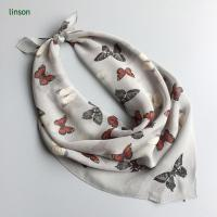 Buy cheap Printed Silk Scarf 2017 spring chiffon cdc scarf with butterfly printing from wholesalers