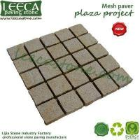 China Garden cobblestone paver Jordan yellow granite bush hammered mesh paver on sale