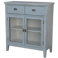 China Rowley Powder Blue and Metal 2 Drawer, 2 Door Cabinet 38x16x42 on sale