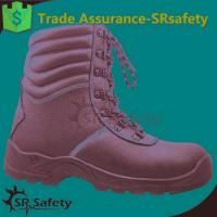 SRSAFETY high quality emboss cow split leather safety shoes black steel safety shoes for sale