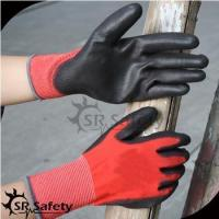 SRSAFETY high quality safety gloves/red polyester palm coated PU light work glove for sale