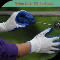 SRSAFETY cheap price/13 gauge nylon working gloves nitrile coating hand gloves for sale