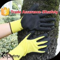 SRSAFETY 13g sandy finish nitrile coated grey and yellow nitrile gloves,color gloves for sale
