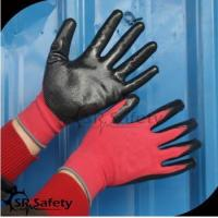 SRSAFETY cheap price/red polyester nitrile palm coating hand gloves for sale