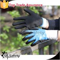 SRSAFETY sandy finish work gloves/new style/nitrile on palm gloves for sale