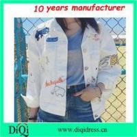women long sleeve white color jacket with patch fashion emboridery jacket for 2017
