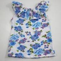 New arrvial neck designs for kids wholesale printed t-shirts baby girls ruffle shirts