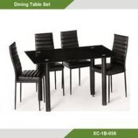 Cheap luxury galss dining room table and chair set