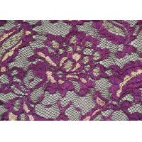 Wholesale Fashion Metallic Purple Stretch Lace Fabric Watersoluble OEM / ODM CY-LW0219 from china suppliers