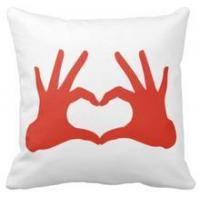 Wholesale Pillow love,red hand with heart sign throw cushions pillows from china suppliers