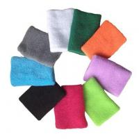 Buy cheap custom colored unisex sports cotton wristbands sweatbands wrist support from wholesalers
