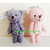 Buy cheap 10cm stuffed bear with keyring and flax material with white dot from wholesalers