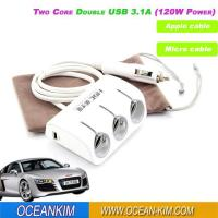 Wholesale YC-401 3 in 1 Car Cigarette Lighter Charger With Dual USB And 3 Cigarette Lighter Sockets from china suppliers