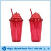 Wholesale 500ml double wall plastic cup with special lid and straw from china suppliers