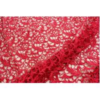 Wholesale Shiny Heavy Polyester Embroidery Vortex Lace Guipure Fabric 47 Inches Red Guipure Fabric from china suppliers