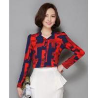 Fashion Lady Long Sleeve Printed Women Shirt Top