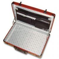 Wholesale Aluminum Attache Case With Wood Veins Aluminum Frame and Nylon Cloth Inner from china suppliers