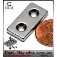 Wholesale N42 Rectangle Neodymium Magnet 1x1/2x1/8 with two #4 Countersunk Hole from china suppliers