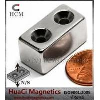 Wholesale N42 Small Block Neodymium Magnet 1x1/2x1/2 with 2 #6 Countersunk Hole from china suppliers