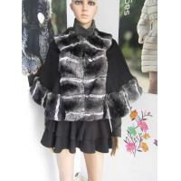 Wholesale cashmere cape with rex rabbit chinchilla fur trim 0711 from china suppliers