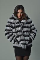 Wholesale Chinchila Colored Rex Rabbit Luxury Fur Coat from china suppliers