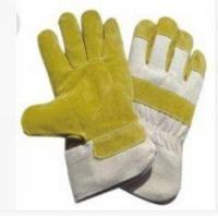 L Yellow Working Pasted Cuff Pig Skin Leather Gloves with White Cotton Back for sale