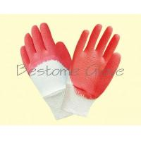 China cotton jersey/interlock wrinkle latex gloves BTML1703-1706 for sale