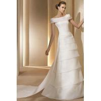 China Organza Tiered Off The Shoulder Vintage Wedding Dresses With Watteau Train on sale