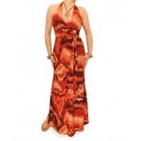 Orange and Brown Tie Dye Maxi Dress