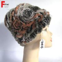 Buy cheap Real Fur Knitted Rex Rabbit Fur Hat from wholesalers
