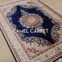 Buy cheap W1194A Hand Knotted Navy Blue and Beige Area Rugs from wholesalers