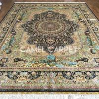 Buy cheap Z2001A Hand Knotted Brown And Gold Silk Rugs On Line from wholesalers
