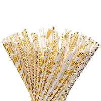 Wholesale foil gold paper straws from china suppliers