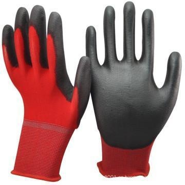 Quality NMSAFETY high quality 13 gauge red nylon fabric coated black pu coated cotton fabric on palm gloves for sale