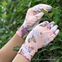 NMSAFETY flower printing polyester liner coated PU garden work gloves for sale