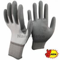 NMSAFETY chinese white nylon coated grey PU gloves gardening for sale