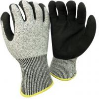 China NMSAFETY anti cut high level 13 gauge anti cut liner coated sandy nitrile on plam work gloves for sale