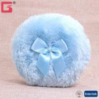 China Amazon FBA long fluff makeup cosmetic plush feather baby powder puff with bowknot ribbon Makeup Spon on sale