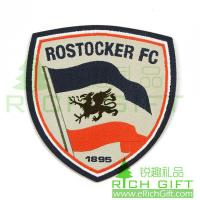 Buy cheap shield-shape embroidery patch with logo ROSTOCKER FC by customized from wholesalers